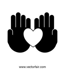 heart on hands silhouette style icon vector design