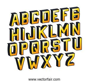 isolated yellow gradient alphabet lettering vector design