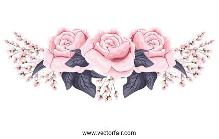 pink roses flowers with leaves painting vector design