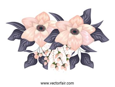 white flowers with leaves painting vector design
