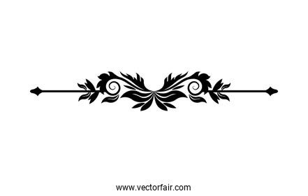 black ornament in arrow shaped with leaves vector design