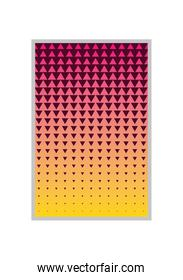 pink with yellow gradient and triangle pattern background frame vector design
