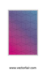 Blue with pink gradient and pattern background frame vector design