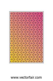 pink with yellow gradient and pattern background frame vector design