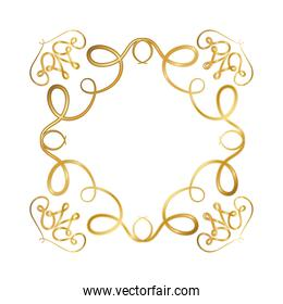 gold ornament frame with curves vector design