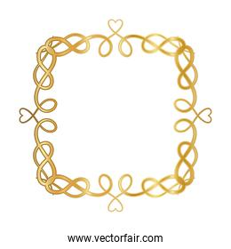 gold ornament frame with hearts shapes vector design