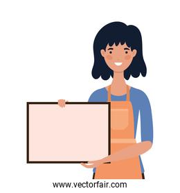 saleswoman cartoon with apron and banner vector design