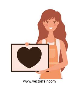 saleswoman cartoon with apron and banner with heart vector design