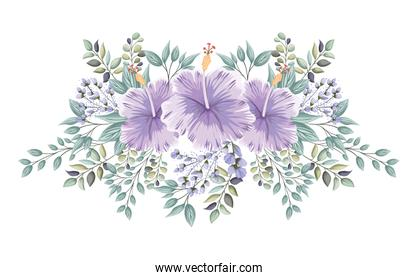 purple hawaiian flowers with buds and leaves painting vector design