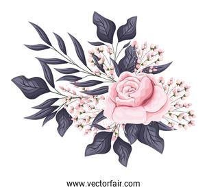 pink rose flower with buds and leaves painting vector design