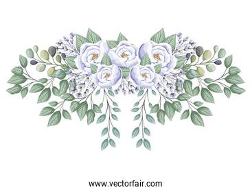 white roses flowers with buds and leaves painting vector design