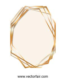 gold ornament frame in hexagon shaped vector design