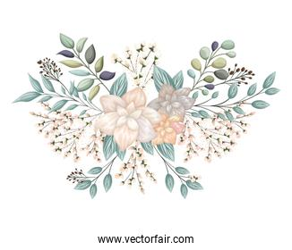 flowers with buds and leaves painting vector design