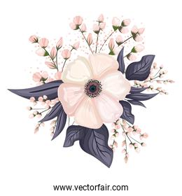 white flower with buds and leaves painting vector design