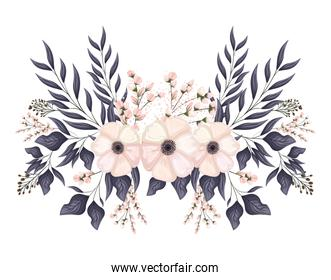white flowers with buds and leaves painting vector design