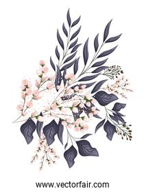 pink buds flowers with leaves bouquet painting vector design