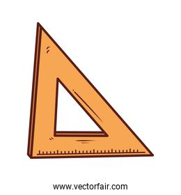 triangle ruler school supply, on white background