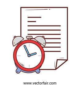 paper document with alarm clock on white background