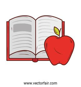 open book with apple red fruit on white background