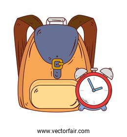 alarm clock with school bag in white background