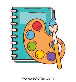 palette with paint brush and notebook, on white background