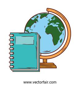 school symbol, notebook with world planet earth school supply