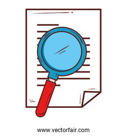 paper document with magnifying glass, on white background