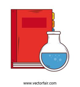 notebook supply school with tube test on white background
