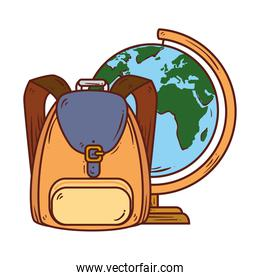 school symbol, backpack with world planet earth school supply