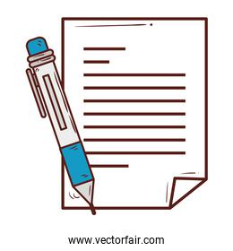 paper document with pen supply, on white background