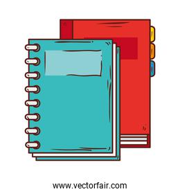 notebook supply school with diary planner on white background