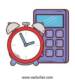 calculator math with alarm clock on white background
