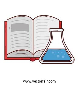 open book with tube test icon, on white background