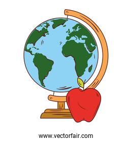 school symbol, apple red with world planet earth school supply