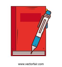 notebook supply school with pen on white background