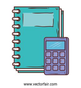 calculator math with notebook supply school on white background