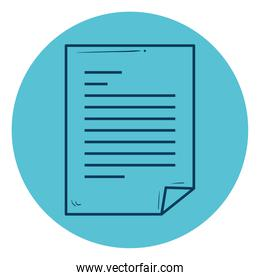 paper document icon, line style in circle frame