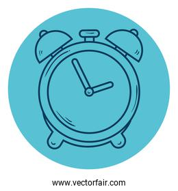 alarm clock, wake up time, line style in circle frame
