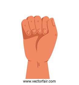 hand human fist on white background