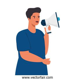 young man with megaphone on white background