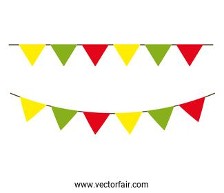garlands hanging of green, yellow and red color