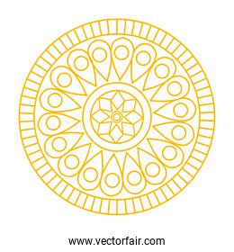 golden contour mandala ornament, in white background