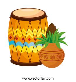 kalash with dhol, in white background