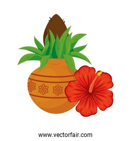 kalash with hibiscus flower, in white background
