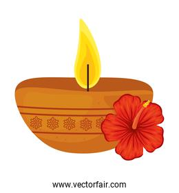 candle indian ornamental in ceramic pot with hibiscus on white background