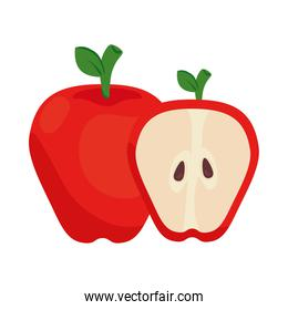 apple red and slice fruit on white background