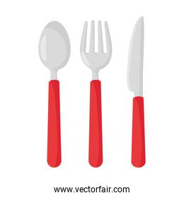 spoon with fork and knife in white background
