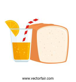 bread bakery with juice of orange, in white background