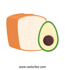 bread bakery with avocado, in white background