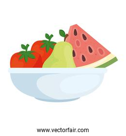 fresh fruits and vegetables in bowl, on white background